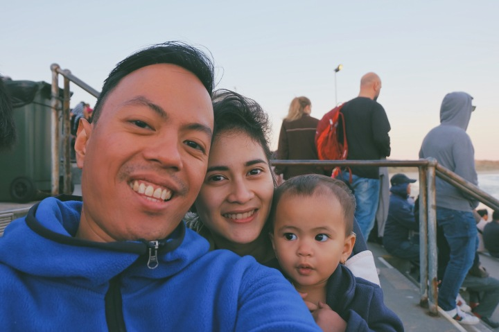 Family selfie di viewing area Phillip Island Penguin Parade
