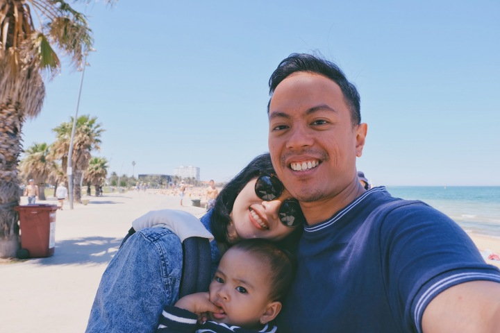 St. Kilda Beach, November 2017 with my family